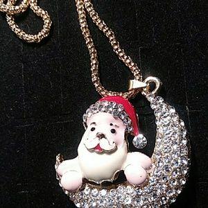 Jeweled Santa Necklace